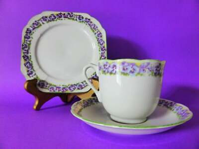 Vintage Superior Purple Pansy Trio, 1950s Japan, Tea Cup, Saucer + Cake Plate