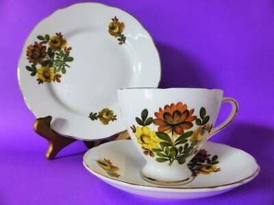 Gladstone Staffordshire Bone China Trio, Yellow Floral Tea Cup, Saucer & Plate