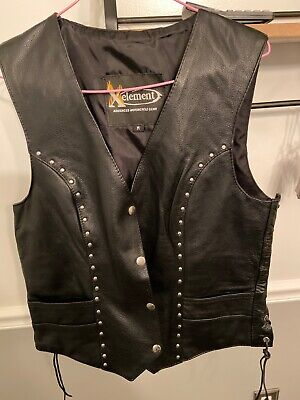 Black Xelement XS125077 Womens Black Leather Biker Vest with Rose Inlay and Braid Small