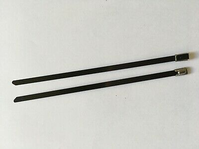 1000x Black Coated Stainless Steel cable Ties 7.9mm x 350mm Heavy Duty Cable Tie