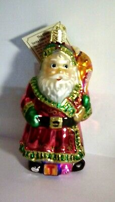 Old World Christmas Ornament. The Glass Santa Clause Ornament.  With Tag