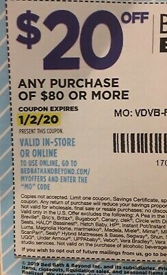 Bed Bath And Beyond coupon- $20 off Purchase Of $80 Or More