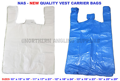 100 Vest Plastic Carrier Bags White Blue Red Clear Medium Large X,XX/LRGE Giant