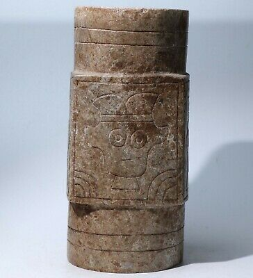 Chinese Hongshan Culture Jade Carved jade cong Statue weight 1510g