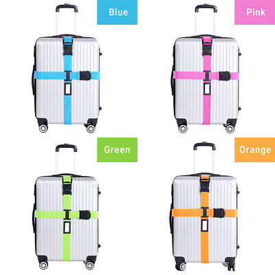 Adjustable Suitcase Luggage Cross Strap Travel Baggage Belt Buckle Tie Lock AU