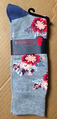 Rooster Gray Flowers Novelty Socks Size 6-12 Men's Crew New Tags AR187