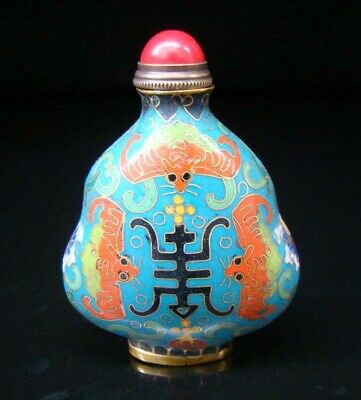 Collectibles 100% Handmade Painting Brass Cloisonne Enamel Snuff Bottles 082