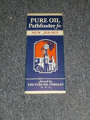 1929 Pure Oil Pathfinder Map For New Jersey The Pure Oil Co