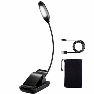 Mpow 4 LED Book Reading Light Clip on Rechargeable 3-level Brightness Lamp New S