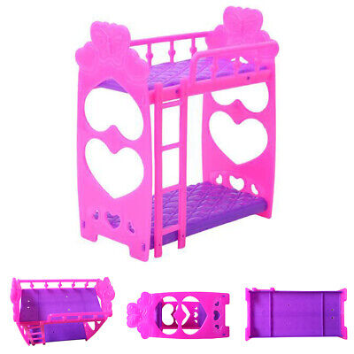 Doll Double Bed Girls Gift Plastic Furniture Accessories Decoration Bedroom