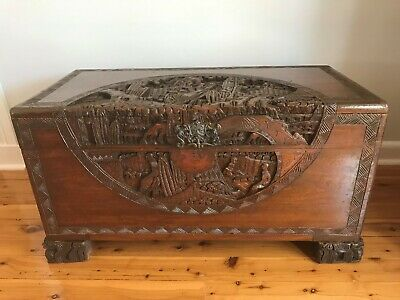 Antique Chinese Wooden Carved Chest ~ Camphor Blanket Box ~ Oriental