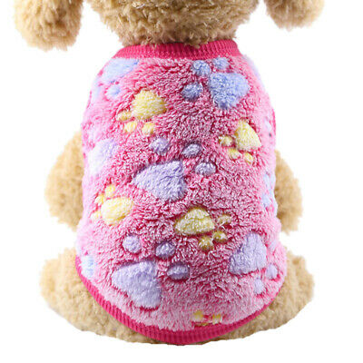 Fleece Pet Dog Clothes for Small Dogs Winter Warm Puppy Vest Coat Fushia Paw M