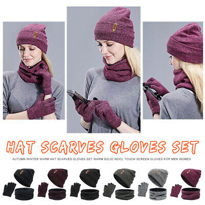 Winter 3 Pcs Set Knit Beanie Hat Scarf Touch screen Gloves Men Women Warm Suit