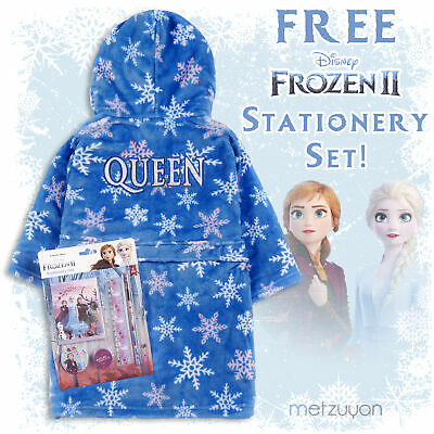 Girls Frozen 2 Ice Queen Dressing Gown Elsa Robe Fleece 2-13 Years Free Gift New