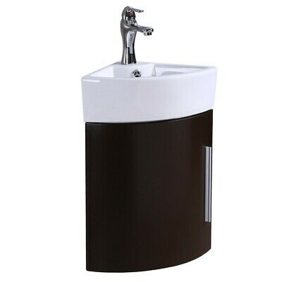 Corner Wall Mount Vanity Sink Dark Oak Cabinet with White Sink and Faucet