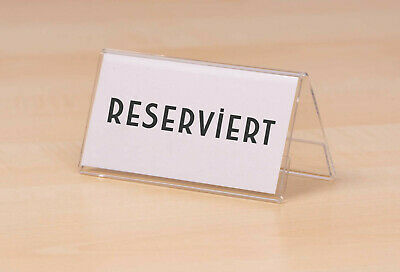 Table Stand Reserved Contacto Acrylic on both Sides 10 x 5 cm Platzhalter New