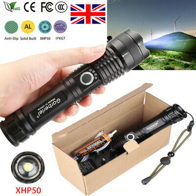 Ultra Bright 900000Lumens XHP50 led 18650 Zoomable Flashlight Rechargeable Torch