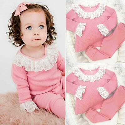 Boutique Kids Toddler Baby Girl Outfits Lace Floral Tops Shirt Pants Clothes Set