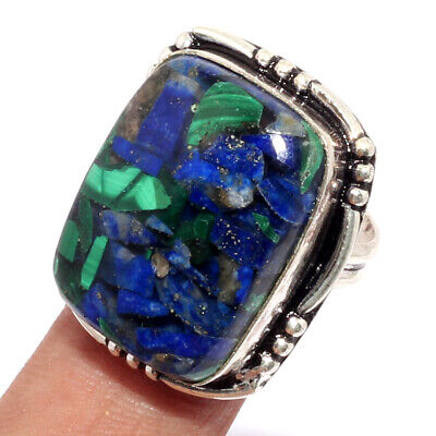 ZK3210 Copper Lapis, Malachite 925 Silver Plated Ring US 8 Jewellery