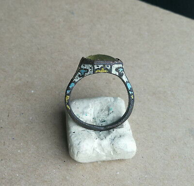 Ancient Viking Old Enamel Bronze Ring With White Glass Super Rare