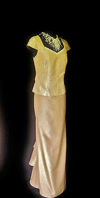 Ladies Designer Size 12 14 Gold Long Fishtail Wedding Skirt & Top Outfit Dress