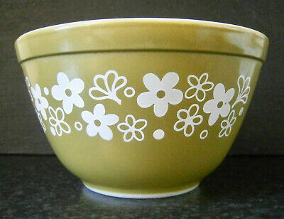 VINTAGE CORELLE by CORNING CRAZY DAISY PYREX GLASS MIXING BOWL / PUDDING BASIN
