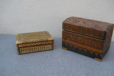 Two inlaid wooden jewellery trinket boxes - Tunbridge ware style &  Middle East