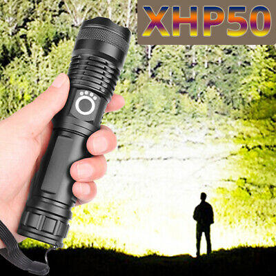 High Power XHP50 Zoom Flashlight LED Rechargeable Torch Headlamp