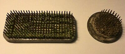 2 Vintage Florists Flower Frogs Pins Spikes Lead Brass Heavy Bases 1 x Pollards