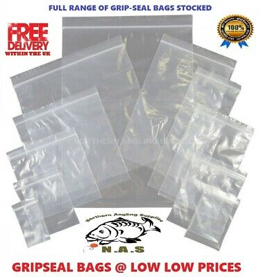 Small Plastic Grip Seal Bags Resealable Press Seal Poly Clear Zip Lock Baggy 100