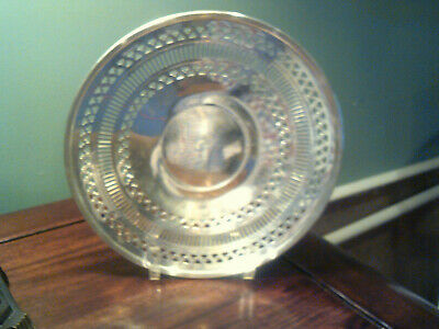 VTG WM. ROGERS tORONTO FANCY SILVERPLATE RETICULATED TRAY/PLATE 9.5 ""