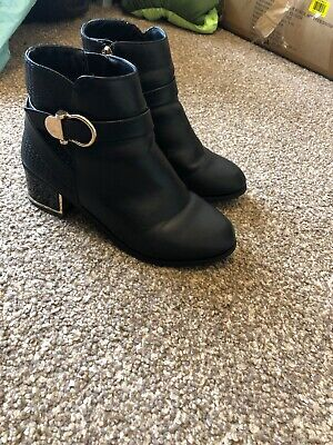 Girls Black River Island Boots Size Uk 3