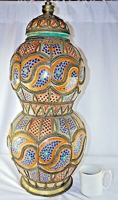 "HUGE! ANTIQUE RARE!! Pottery Urn MOROCCAN Silver Filigree Fez 29""X13"""