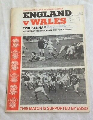 1974  UNDER 15s RUGBY UNION INTERNATIONAL - ENGLAND v WALES.