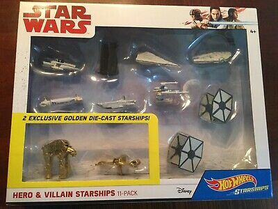 Hot Wheels Star Wars Hero & Villians Starships 11 Pack w/ 2 Golden Exclusive New