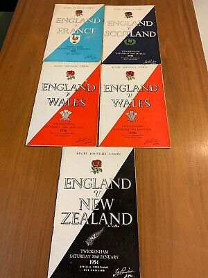 Bundle of 5 England Rugby Union Programmes From the 50s  New Zealand Wales