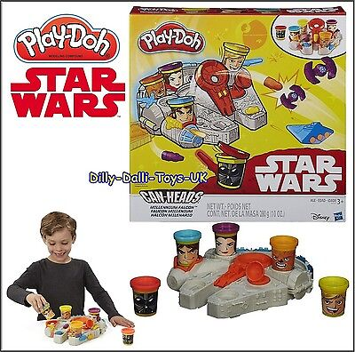 Large PLAY DOH Star Wars Set MILLENIUM FALCON Playdoh With Set 5 Tubs Dough NEW