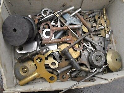 Collection 50 Old Vintage Antique Clock Key Grandfather Carriage Mantle Bracket