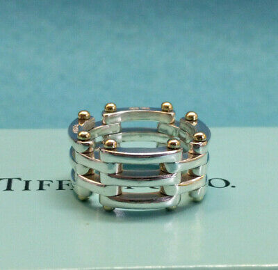 Tiffany & Co. Gatelink Ring, Sterling Silver 925 & 18K 750, Size 6.5