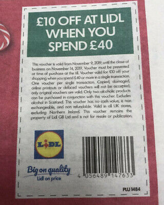 Lidl Voucher £10 Off When You Spend £40 Valid Till 14/11/19