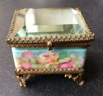 Antique French Porcelain Casket Jewelry Box  Beveled Glass Top & Rose Decoration