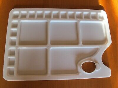 ARTIST'S PALETTE, White, Rectangular, Plastic, 18 small wells and 5 larger wells