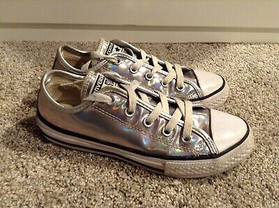 Converse All Star Youth silver shiny metalic Size 3 Girls Sneakers