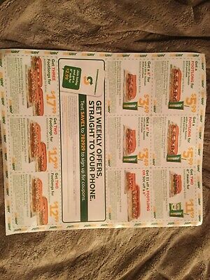 (12) Subway Restaurant Coupons Expire 12/29/19
