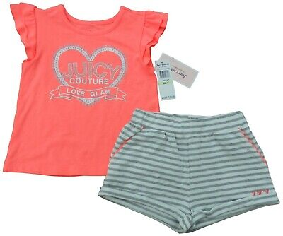 JUICY COUTURE Girls 2pc SET 3/4Y pink silver & glitter TOP glitter SHORTS BNWT