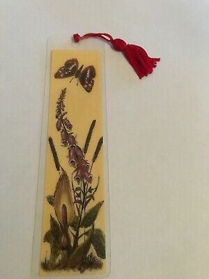 Cardboard Bookmark In Plastic. Butterfly And Flowers.