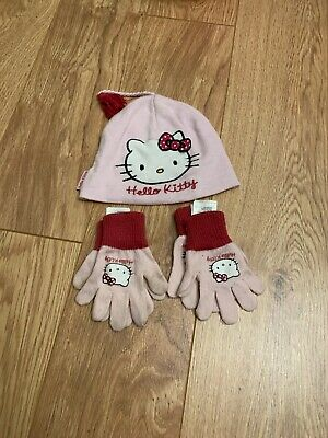 Age 1.5-4 Hello Kitty Hat And Two Pairs Gloves  Set.