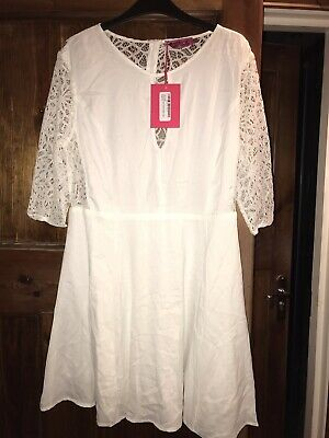 White Lace Sleeve Skater Dress Size 14 Boohoo Brand New With Tags