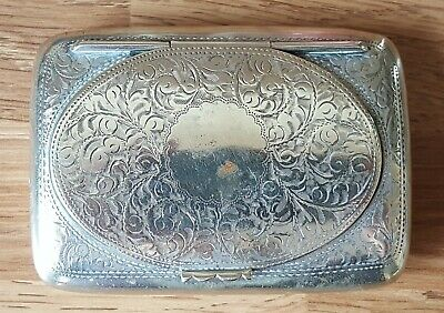 Silver plate vintage Victorian antique large snuff box