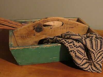 Primitive Antique Wooden Tote with Apple Green Original Paint Handmade Folk Art